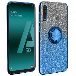 Glitter Silikonhülle mit Ring Halterung für Samsung Galaxy A50 - Blau