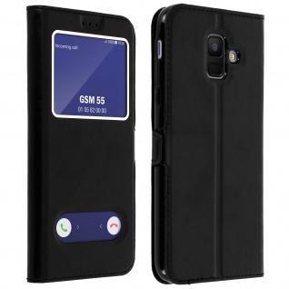 Flip Cover Doppelfenster & Standfunktion, Klappetui Samsung Galaxy A6 - Schwarz
