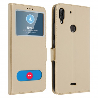 Wiko View 2 Plus Flip Cover mit Doppelfenster & Standfunktion - Gold