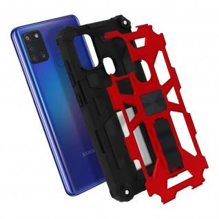 Samsung Galaxy A21s Handyhülle mit Ständer, Metallic Design - Rot