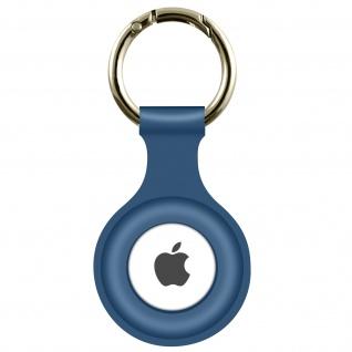 AirTag Soft Touch Schlüsselanhänger aus Silikon, mit Metallring ? Dunkelblau