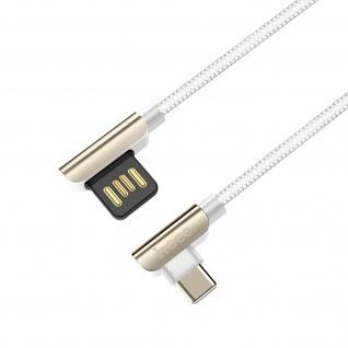 USB-C 2.4A Kabel mit abgewinkeltem Stecker, 1, 2m Exquisite Steel Hoco ? Weiß