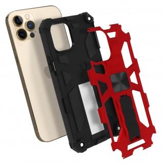 Apple iPhone 12 Pro Max Handyhülle mit Ständer, Metallic Design - Rot
