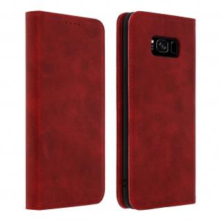 Flip Cover Geldbörse, Kunstleder Klappetui für Samsung Galaxy S8 Plus - Rot
