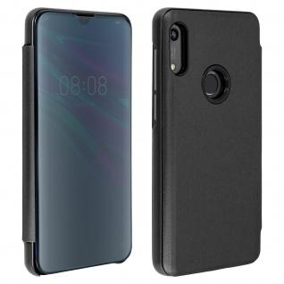 Honor 8A , Huawei Y6 2019 Flip Cover mit Spiegeleffekt & Standfunktion - Schwarz