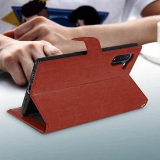 Flip Cover Stand Case Brieftasche & Standfunktion für Galaxy Note 10 - Braun - Vorschau 4