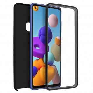 Schutzhülle für Samsung Galaxy A21s, Vorder- + Rückseite ? Schwarz