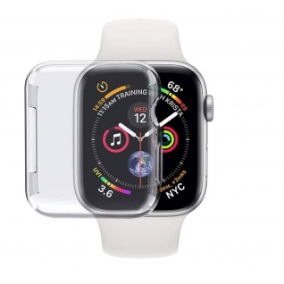 Apple Watch 44 mm Silikon Displayschutzfolie / Schutzhülle - Transparent