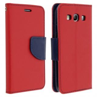 Fancy Style Flip-Cover für Samsung Galaxy S3, Kartenfach & Standfunktion - Rot