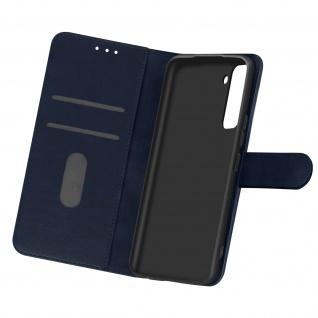 Flip Cover Geldbörse, Etui Kunstleder für Samsung Galaxy S21 Plus - Dunkelblau