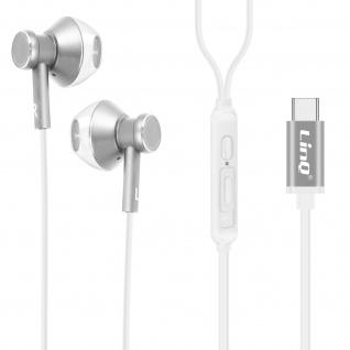 LinQ USB-C kabelgebundene Kopfhörer, Hohe Qualität, Steuertasten ? Silber