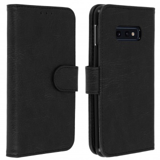 Flip Cover Geldbörse, Klappetui Kunstleder für Samsung Galaxy S10e ? Schwarz