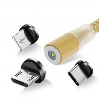 3-in-1-Magnetkabel, 1.2m USB-C / Micro-USB / Lightning Kabel - Gold