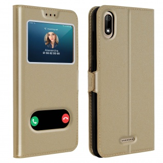 Wiko Y60 Flip Cover Doppelfenster & Standfunktion - Gold