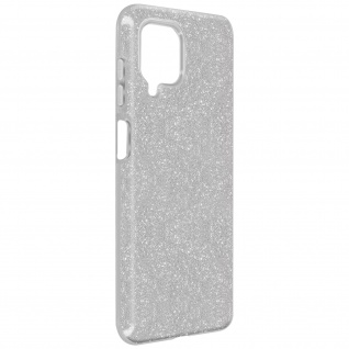 Schutzhülle, Glitter Case für Samsung Galaxy A12, shiny & girly Hülle â€? Silber