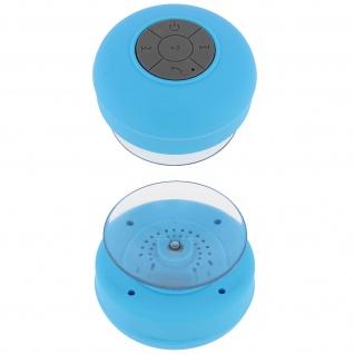 Spritzfester Bluetooth Lautsprecher (IPX4) - Mit Saugnapf-Befestigung - Blau