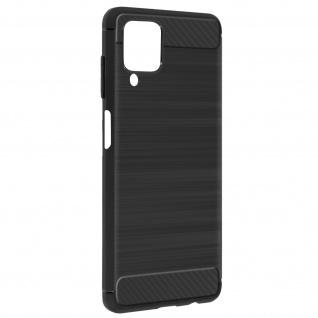Samsung Galaxy A12 Schutzhülle mit Aluminium und Carbon Design ? Schwarz