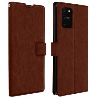 Flip Stand Case Brieftasche & Standfunktion für Galaxy S10 Lite - Braun