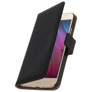 Flip-Schutzhülle aus Echtleder für Motorola Moto G5S mit Kartenfach - Schwarz