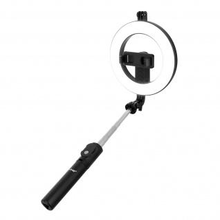 LinQ Selfie Stick Smartphone Ring Licht Stativ, Bluetooth Auslöser - Schwarz