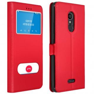 Flip Cover Doppelfenster & Standfunktion für Alcatel 3C, Gelhülle - Rot