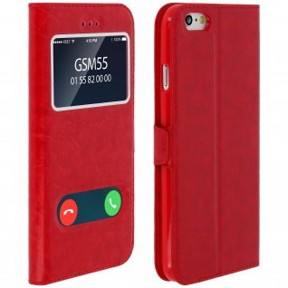 Flip Cover mit Doppelfenster & Standfunktion Apple iPhone 6/iPhone 6S - Rot
