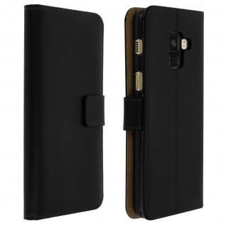 Flip Cover Echtleder mit Standfunktion & Kartenfach Galaxy A8 2018 - Schwarz