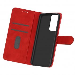 Flip Cover Geldbörse, Etui Kunstleder für Samsung Galaxy S21 Ultra ? Rot