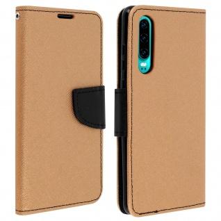 Fancy Style Flip-Cover für Huawei P30, Kartenfach und Standfunktion - Gold