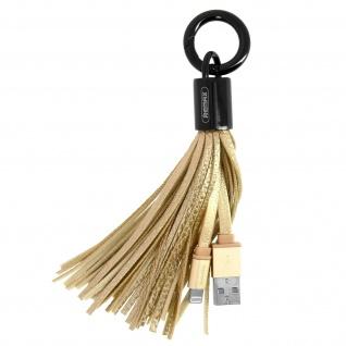 Bommel Schlüsselanhänger mit USB-Ladekabel für iPhone/iPad/iPod - Gold