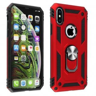 Hybrid Handyhülle mit Ring Halterung für Apple iPhone XS Max - Rot