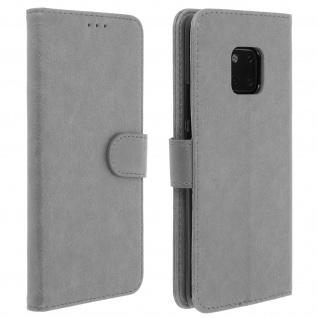 Flip Cover Geldbörse, Klappetui Kunstleder für Huawei Mate 20 Pro - Grau