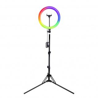 Ringlicht 3x Leuchten 180° drehbarer Ring Kabel + Fernbedienung Stativ, 4Smarts