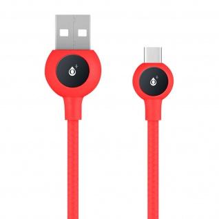 USB-C / USB Nylon Kabel, Lade- & Synchronisationskabel, 2A - Rot