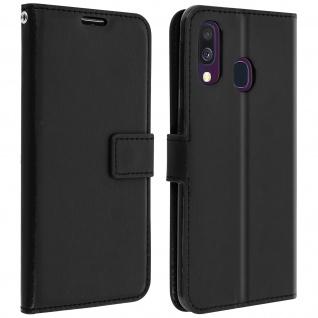 Flip Stand Cover Brieftasche & Standfunktion für Samsung Galaxy A40 - Schwarz