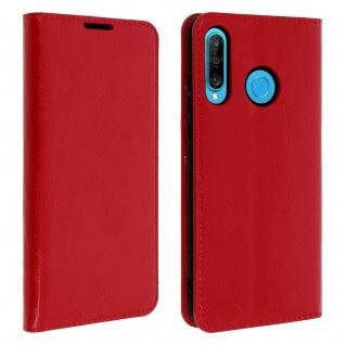 Business Leder Cover, Schutzhülle mit Geldbörse Huawei P30 Lite - Rot