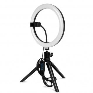 Ring Light, 19.5cm Ringlicht mit Handyhalterung und Mini-Stativ - Schwarz