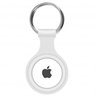 AirTag ultradünner Schlüsselanhänger aus Silikon, mit Metallring ? Weiß