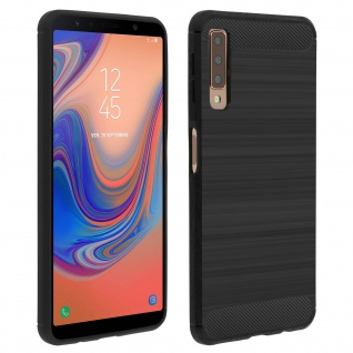Samsung Galaxy A7 2018 Silikon Schutzhülle mit Carbon/Aluminium Look - Schwarz