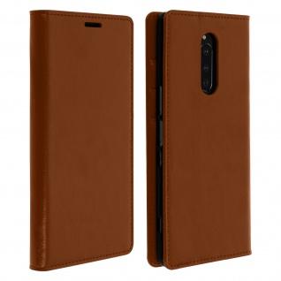 Business Leder Cover, Schutzhülle mit Geldbörse für Sony Xperia 1 - Hellbraun