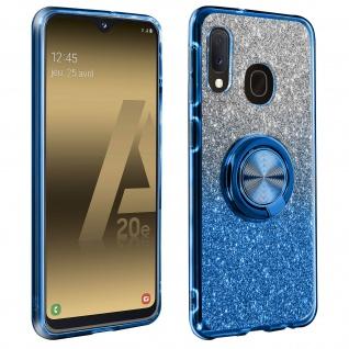 Glitter Silikonhülle mit Ring Halterung für Samsung Galaxy A20e - Blau