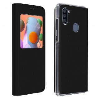 Klapphülle mit Sichtfenster & Kartenfach für Samsung Galaxy A11 - Schwarz