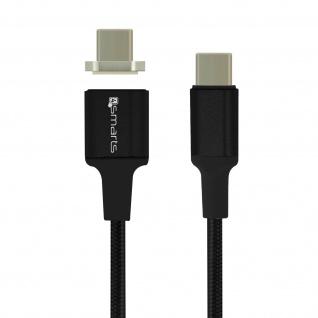 USB-C-Kabel Stecker zu Stecker 5A Magnetisch Abnehmbar 1, 8 m 4 Smarts Schwarz
