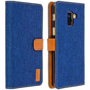 Denim Flip Cover Geldbörse mit Standfunktion für Samsung Galaxy A8 - Blau