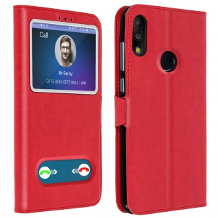 Asus ZenFone Max Pro M2 ZB631KL Flip Cover Doppelfenster & Standfunktion - Rot