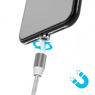 Magnetisches Kabel USB zu Lightning/USB-C/Micro-USB Laden - Silber - Vorschau 4