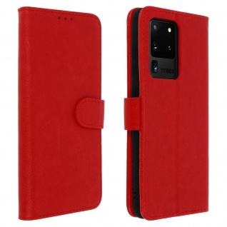 Flip Cover Geldbörse, Klappetui Kunstleder für Samsung Galaxy S20 Ultra - Rot
