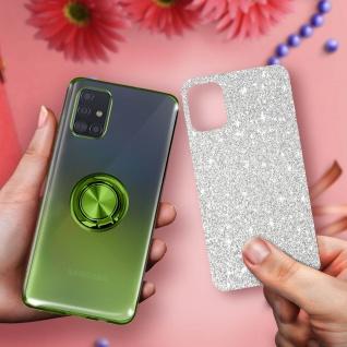 Glitter Silikonhülle mit Ring Halterung für Samsung Galaxy A51 - Grün - Vorschau 5