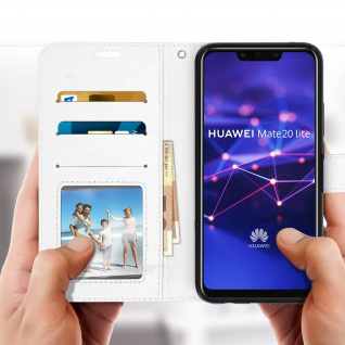 Flip Stand Cover Brieftasche & Standfunktion Huawei Mate 20 lite - Weiß - Vorschau 3