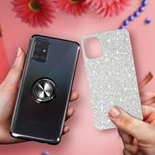 Glitter Silikonhülle mit Ring Halterung für Samsung Galaxy A51 - Schwarz - Vorschau 5